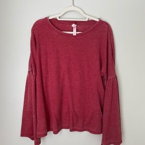 distressed red bell sleeve blouse